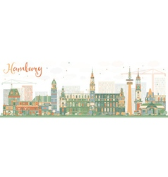Abstract Hamburg Skyline with Color Buildings vector image vector image