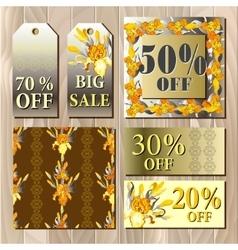 Big sale printable card template with iris flowers vector