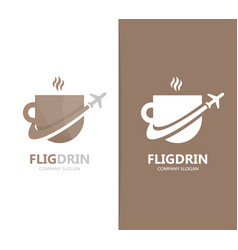 Coffee and airplane logo combination vector