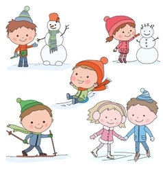Collection of kids in winter vector image