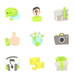 Communication in network icons set cartoon style vector