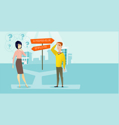 Confused man and woman choosing career pathway vector
