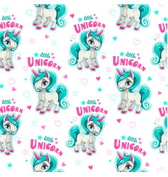 Cute seamless pattern with funny cartoon unicorns vector