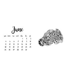 Desk calendar template for month june vector