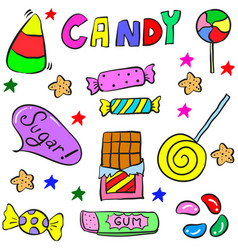 Doodle candy colorful various object vector