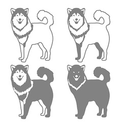 Four different silhouettes of dogs vector