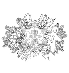 Graphic Christmas card gingerbread vector image