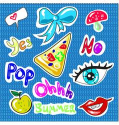 hand drawn childish fashion stickers vector image