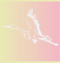 Hand-drawn stork swan engraving stencil vector