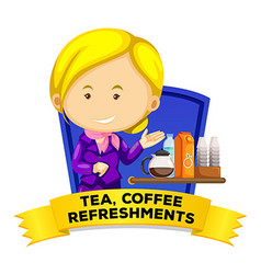 Label design with flight attendant serving drinks vector