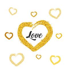 love card design gold glitter heart shapes on vector image