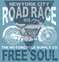 motorcycle typography t-shirt graphics vector image vector image