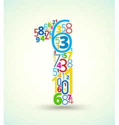 Number 1 colored font from numbers vector