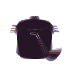 Pan with steam sign colorful icon shaked vector