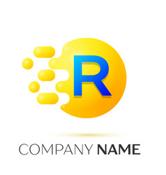 R letter splash yellow dots and circle bubble vector