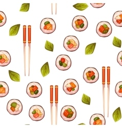 Seamless pattern with sushi background vector