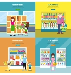 Set of Supermarket Concept Banners in Flat Design vector image vector image