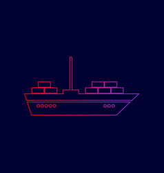 Ship sign line icon with vector