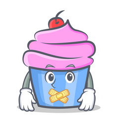 Silent cupcake character cartoon style vector