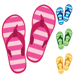Slippers Colorful slippers isolated on white vector image vector image