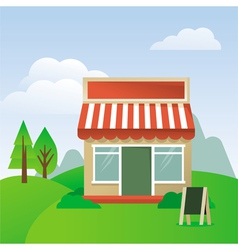 store house with striped awning vector image vector image