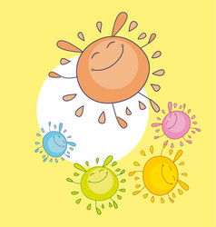 Tender color sun funny mascot bubble shape sun vector