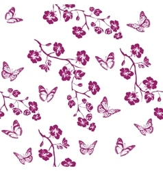Twig cherry blossoms and butterfly Seamless vector image vector image
