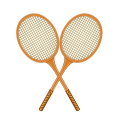 two crossed tennis rackets in vintage design vector image vector image