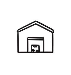 Warehouse sketch icon vector