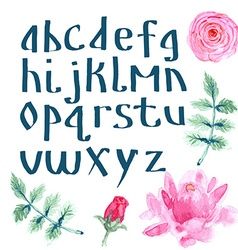 Watercolor alphabet with flowers vector