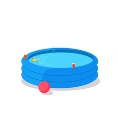 Inflatable Pool in Flat Design vector image