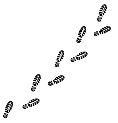 Shoes trail footprints line vector
