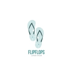 Stylized pair of three colored rubber flip flops vector