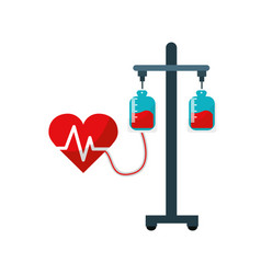 Donation transfusion tools with heartbeat symbol vector