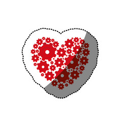 sticker red heart shape with pinions and gears set vector image