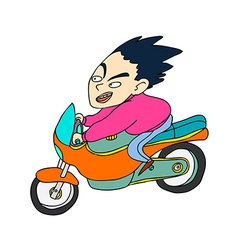 Side view of boy on bike vector