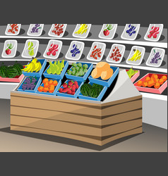 Shelf with fruits in the supermarket vector