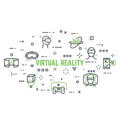 Virtual reality icons vector
