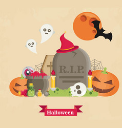 Halloween concept banner with flat icon set on vector