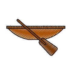 Fishing canoe isolated icon vector