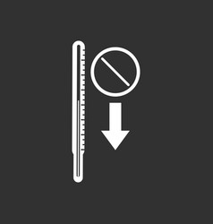 White icon on black background medical thermometer vector