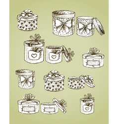 Set of gift present boxes vector