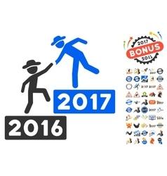 2017 business training icon with 2017 year bonus vector