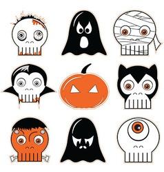 3 halloween icon set vector