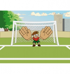 Cartoon goalkeeper at the gate vector