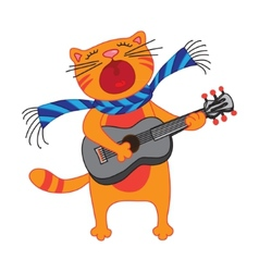 Singing cat plays guitar on white background vector