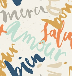 Seamless french inscriptions love thank you hello vector