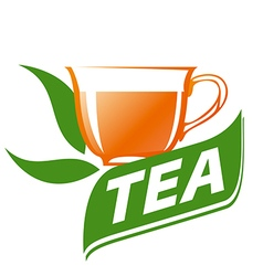Logo cup of tea and green leaves vector