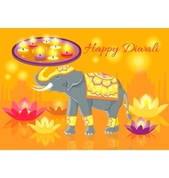 Happy diwali elephant indian celebrate vector