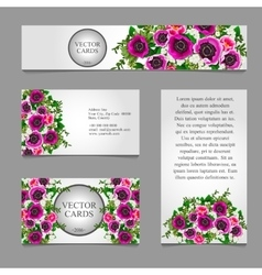 Four cards with white and pink flower composition vector